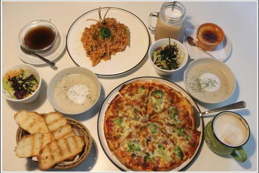 【燉飯/披薩分享】 野菜共合國 の 田園蔬菜芝士披薩 & 蕃茄野菇蘆筍燉飯 (台中/西區) ➽ 台中素食義式料理餐廳,當日濃湯無敵爆好喝  – 素食